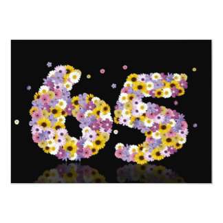 """69th Birthday party, with flowered letters 5"""" X 7"""" Invitation Card"""
