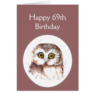 69th Birthday Who Loves You, Cute Owl Humour Card