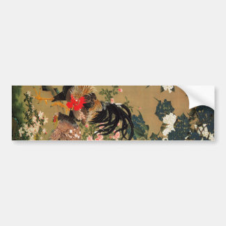 6. 紫陽花双鶏図, 若冲 Hydrangea and Rooster, Jakuchū Bumper Sticker