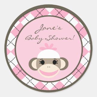 "6 - 3""  Favor Stickers Pink Argyle Sock Monkey"