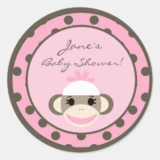 """6 - 3""""  Favor Stickers Pink Sock Monkey"""