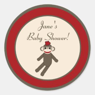 "6 - 3""  Favor Stickers Red Sock Monkey"