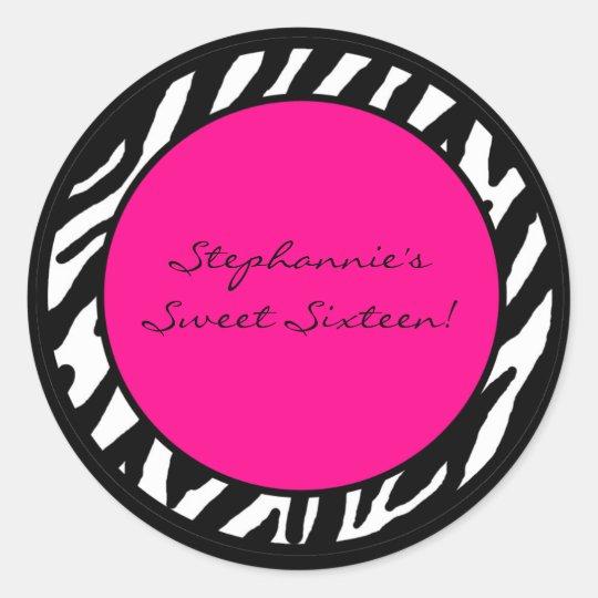 "6 - 3"" Favour Stickers Hot Pink Zebra"
