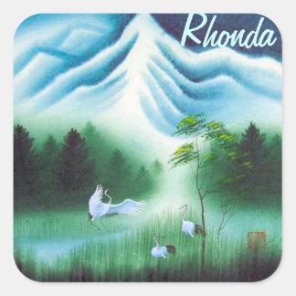 6 3x3 Nameplates w Vintage image of Nature & Birds Square Sticker