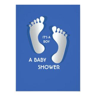 6.5x8.75 Blue Baby Boy Footprints Baby Shower 17 Cm X 22 Cm Invitation Card