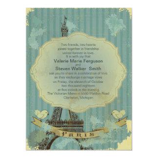 "6.5x8.75""  Grunge Retro Paris Wedding Invitation"