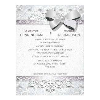 6 5x8 75 Modern Silver Floral Damask Bow Personalized Invites