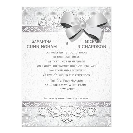 "6.5x8.75"" Modern Silver Floral Damask Bow Personalized Invites"