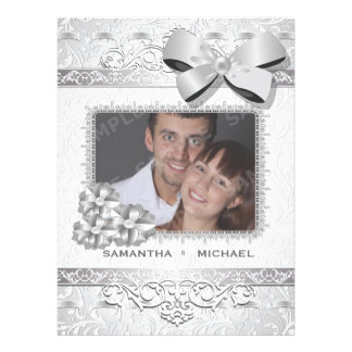 6 5x8 75 Modern Silver Floral Damask Bow Photo Invitation