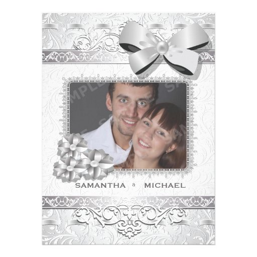 "6.5x8.75"" Modern Silver Floral Damask Bow Photo Announcements"