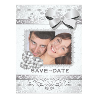 """6.5x8.75"""" Modern Silver Floral Damask Bow Save The 6.5"""" X 8.75"""" Invitation Card"""
