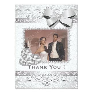 "6.5x8.75"" Modern Silver Floral Damask Bow Thak You 6.5"" X 8.75"" Invitation Card"