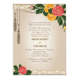 """6.5x8.75"""" Vintage Damask Floral Wedding Invitation"""