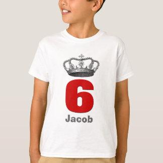 6 Birthday Boy Crown and Number Custom Name V01 Tshirts
