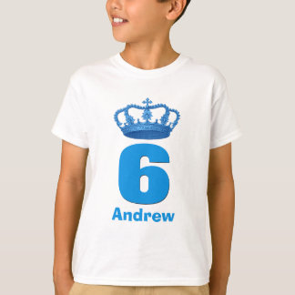 6 Birthday Boy Crown and Number Custom Name V04 Tees
