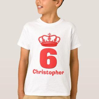 6 Birthday Boy Crown and Number Custom Name V05 Tshirt