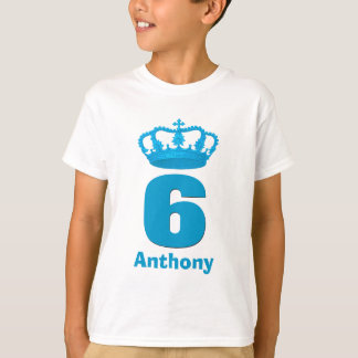 6 Birthday Boy Crown and Number Custom Name V11 T-Shirt