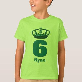 6 Birthday Boy Crown and Number Custom Name V12 T-shirt
