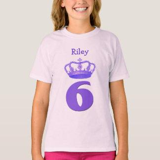 6 Birthday Girl Crown and Number Custom Name V07 T-shirt