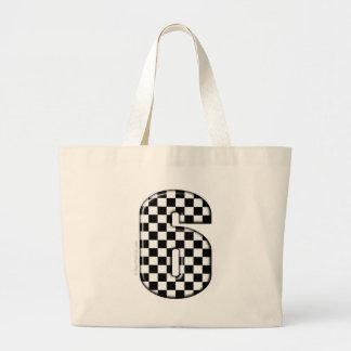 6 checkered auto racing number jumbo tote bag