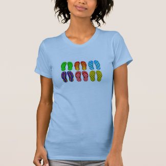 6 Colorful Pairsof  Flip Flops Beach Shoes T-shirt