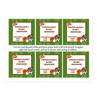 6 Favor Tags All-Star Green Postcards