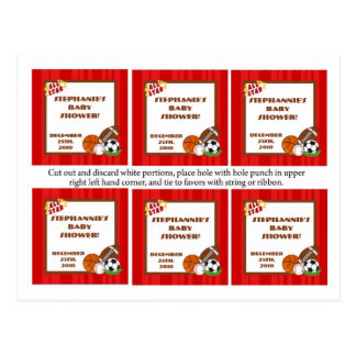 6 Favor Tags All-Star Red Postcard