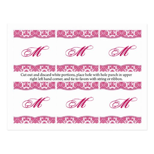 6 Favor Tags Fusia White Damask Lace Print Pattern Post Card