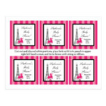6 Favour Tags Pink Poodle Paris Eiffel Tower