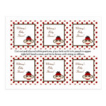 6 Favour Tags Red Sock Monkey Postcards
