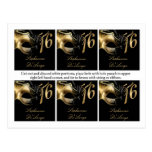 6 Favour Tags Sweet 16 Gold Black Party Post Cards