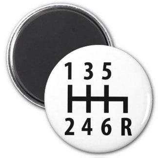 6 gearshift race car black 6 cm round magnet