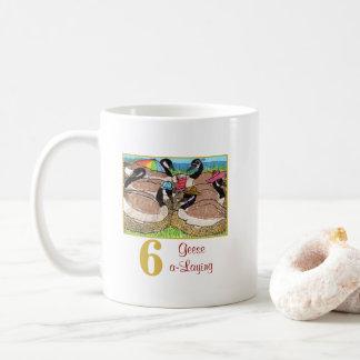 6 Geese a-Laying Cute Animals & Typography Coffee Mug
