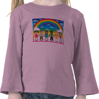 6 happy kids under a rainbow with a colorful backg tshirt