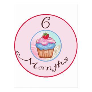 6 Months Cupcake Milestone Postcards