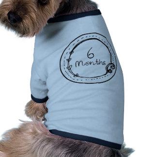 6 Months Doodle Milestone Ringer Dog Shirt
