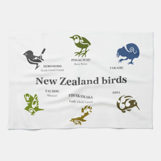6 New Zealand birds Tea Towel