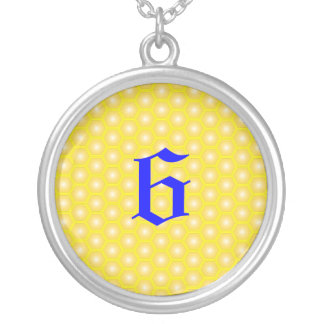 6,NUMBER, LETTER ON HONEYCOMB ROUND PENDANT NECKLACE