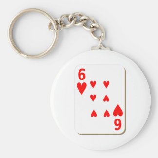 6 of Hearts Playing Card Key Chain