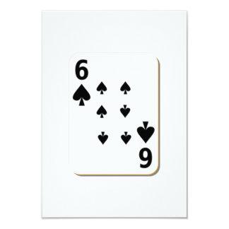 6 of Spades Playing Card 9 Cm X 13 Cm Invitation Card