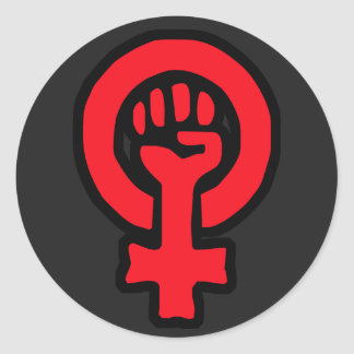 6 Pack Custom Red Glossy Feminist Symbol Stickers