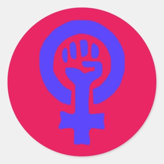 6 Pack Large Custom Blue Glossy Feminist Stickers