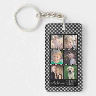 6 Photo Frames Black with White Dots Personalized Key Ring