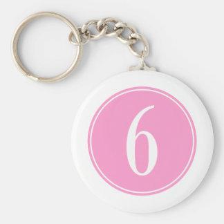 #6 Pink Circle Basic Round Button Key Ring