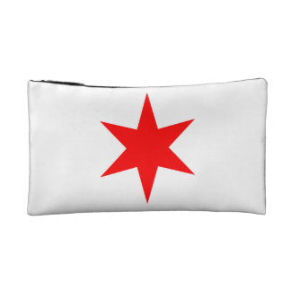 6-Pointed Chicago Flag Red Star Cosmetics Bags