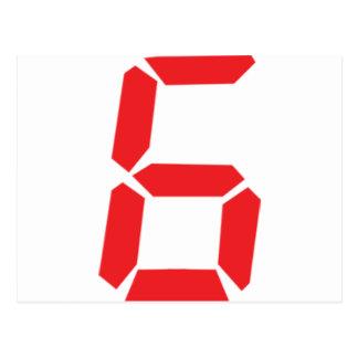 6 six red alarm clock digital number postcard