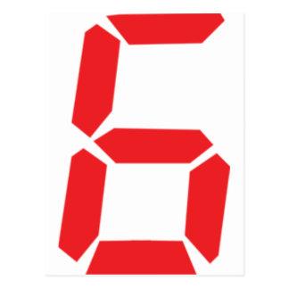 6 six red alarm clock digital number postcards