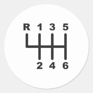 6 Speed Shift Gate Round Sticker