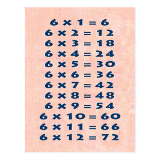6 Times Table Collectible Postcard