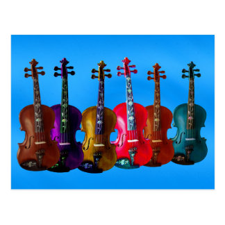 6 VIOLINS ON BLUE-POSTCARD POSTCARD